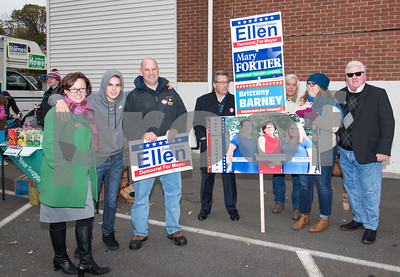 11/7/17  Wesley Bunnell | Staff  Democratic candidate for mayor Ellen Zoppo-Sassu stands with her son Carson and husband Peter as well as Mike Petosa, John Boi, candidate for City Council Brittany Barney and Dean Barney outside of the Elks Club.