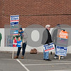 11/7/17  Wesley Bunnell | Staff<br /> <br /> Supporters of both Democratic challenger Ellen Zoppo-Sassu and Incumbent Mayor Ken Cockayne stand outside of the Elks Club on Tuesday afternoon including Democratic challenger Ellen Zoppo-Sassu, 3rd from the L.