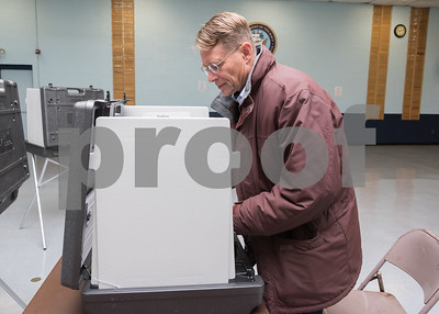 11/7/17  Wesley Bunnell | Staff  Democratic candidate for Mayor Merrill Gay votes at the VFW on Tuesday morning.
