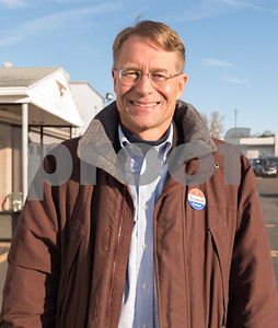 11/7/17  Wesley Bunnell | Staff  Democratic candidate for Mayor Merrill Gay wears his I Voted sticker after voting at the VFW on Tuesday morning.