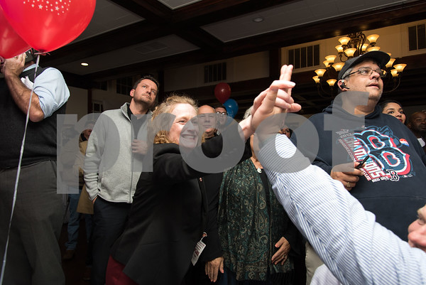 11/7/17 Wesley Bunnell | Staff Team Stewart at their election night headquarters at The Back Nine Tavern at Stanley Golf Course. Cheryl Blogoslawski is congratulated on being re-elected as tax collector.