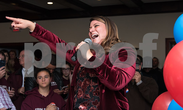 11/7/17 Wesley Bunnell | Staff Team Stewart at their election night headquarters at The Back Nine Tavern at Stanley Golf Course. Mayor Erin Stewart greets the crowd after winning re-election.