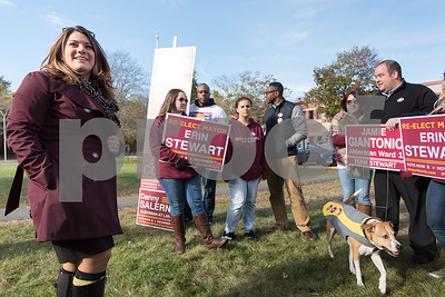 11/7/17  Wesley Bunnell | Staff  Incumbent Mayor Erin Stewart speaks to supporters and fellow team members outside of Slade Middle School on Tuesday morning before heading inside to vote. Alexia Fliss holds an Erin Stewart sign.