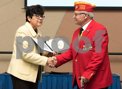 11/09/17  Wesley Bunnell | Staff  CCSU held a Veterans Day Observance Ceremony on Friday afternoon in Alumni Hall. CCSU President Dr. Zulma Tora presents U.S. Marine Corps Corporal Salvatore V. Sena Sr. and CCSU alumn with an award.