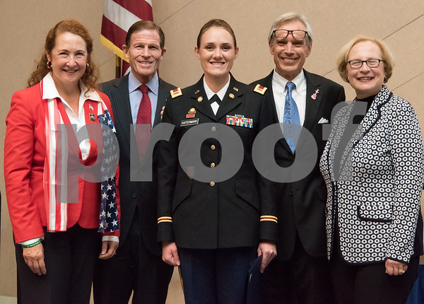 11/09/17 Wesley Bunnell | Staff CCSU held a Veterans Day Observance Ceremony on Friday afternoon in Alumni Hall. Congresswoman Elizabeth Esty, Senator Richard Blumenthal, CCSU student and CT Army National Guard Chief Warrant Officer 2 Tasha E. Dow, Representative Peter Terczyak and State Senator Terry Gerratana.