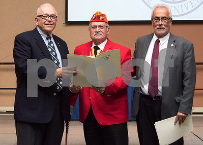 11/09/17  Wesley Bunnell | Staff  CCSU held a Veterans Day Observance Ceremony on Friday afternoon in Alumni Hall. Alderman Don Naples, L, and Alderman Daniel Salerno, far R, present CCSU alumn and Marine Corps veteran Salvatore V. Sena Sr. with an award from the city.