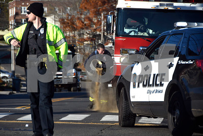 11/10/2017 Mike Orazzi | Staff The scene of a hit and run crash at the intersection of North Main and North Street Friday afternoon in downtown Bristol. No injuries were reported as the other vehicle left the scene.