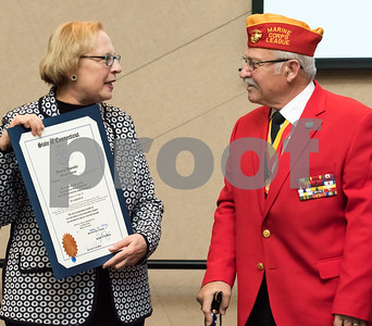 11/09/17  Wesley Bunnell | Staff  CCSU held a Veterans Day Observance Ceremony on Friday afternoon in Alumni Hall. State Senator Terry Gerratana presents CCSU alumn and Marine Corps veteran Salvatore V. Sena Sr. with a citation from the State of CT.