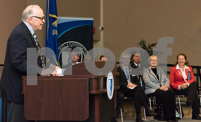11/09/17  Wesley Bunnell | Staff  CCSU held a Veterans Day Observance Ceremony on Friday afternoon in Alumni Hall. Alderman Don Naples addresses the crowd before making presentations on behalf to he City of New Britain as Representative Peter Terczyak, State Senator Terry Gerratana and Congresswoman Elizabeth Esty look on.