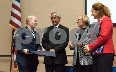 11/09/17  Wesley Bunnell | Staff  CCSU held a Veterans Day Observance Ceremony on Friday afternoon in Alumni Hall. CCSU student and CT Air National Guard Staff Sergeant Dorota Gdula is presented with awards from Representative Peter Terczyak, State Senator Terry Gerrantana and Congresswoman Elizabeth Esty.