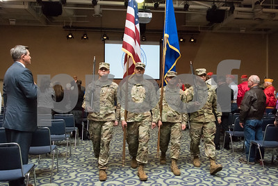 11/09/17  Wesley Bunnell | Staff  CCSU held a Veterans Day Observance Ceremony on Friday afternoon in Alumni Hall. The Retiring of the Colors at the conclusion of the event.