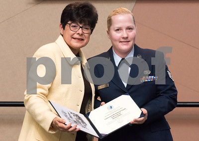 11/09/17  Wesley Bunnell | Staff  CCSU held a Veterans Day Observance Ceremony on Friday afternoon in Alumni Hall. CCSU President Dr. Zulma Tora presents CCSU student and CT Air National Guard Staff Sergeant Dorota Gdula with an award.