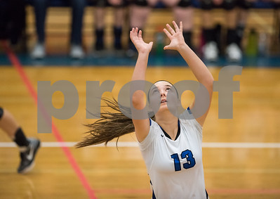 11/1/17  Wesley Bunnell | Staff  Southington girls volleyball defeated Platt Tech on Wednesday night at Southington High School.  Stephanie Zera (13).