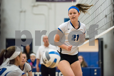 11/1/17  Wesley Bunnell | Staff  Southington girls volleyball defeated Platt Tech on Wednesday night at Southington High School.  Katherine Gundersen (21) watches as a teammate makes a play.