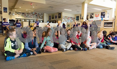 11/13/17  Wesley Bunnell | Staff  West Bristol School held its Just Wanna See You Be Brave day featuring anti-bullying programs for all grade levels. Kindergarten students raise their hands to answer questions posed by Library Media Clerk Judy Michaud.