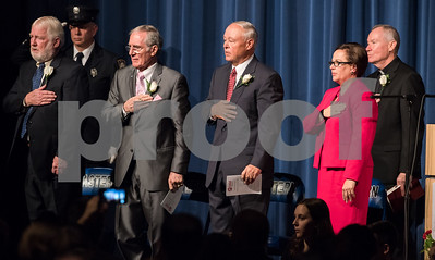 11/13/17  Wesley Bunnell | Staff  The City of Bristol held their 2017 Inaugural on Monday evening at Bristol Eastern High School.  Mayor Ellen Zoppo-Sassu stands along with former mayors during the Pledge of Allegiance.