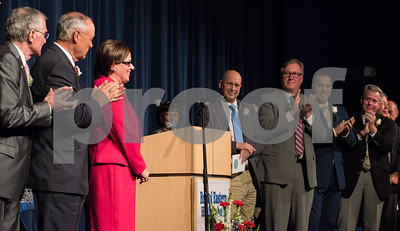 11/13/17  Wesley Bunnell | Staff  The City of Bristol held their 2017 Inaugural on Monday evening at Bristol Eastern High School. Mayor Ellen Zoppo-Sassu receives a standing ovation after receiving the oath.