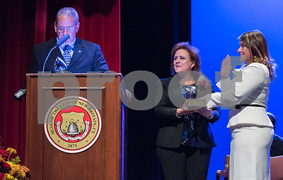 11/14/17  Wesley Bunnell   Staff  The inauguration of Mayor Erin E. Stewart and other elected officials was held on Tuesday morning at New Britain High School. Former Mayor Timothy Stewart gives the oath to New Britain's 40th Mayor Erin E. Stewart as wife Patty holds the bible.
