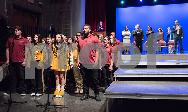 11/14/17 Wesley Bunnell | Staff The inauguration of Mayor Erin E. Stewart and other elected officials was held on Tuesday morning at New Britain High School. The New Britain High School Madrigals sing the Star Spangled Banner.