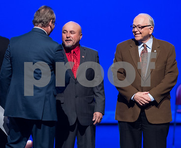 11/14/17  Wesley Bunnell   Staff  The inauguration of Mayor Erin E. Stewart and other elected officials was held on Tuesday morning at New Britain High School. Town and City Clerk Mark H. Bernacki, L, shakes hands with Common Council member Wilfredo Pabon as Don Naples looks on.
