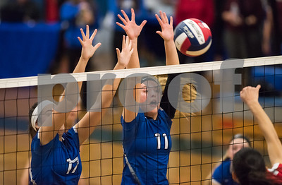 11/15/17  Wesley Bunnell | Staff  Southington girls volleyball vs Greenwich in a semi final match played at Bunnell High School in Stratford on Wednesday evening.  Brooke Cooney (17) and Hannah Zelina (11).