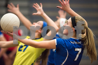 11/15/17  Wesley Bunnell | Staff  Southington girls volleyball vs Greenwich in a semi final match played at Bunnell High School in Stratford on Wednesday evening.  Haley Larrabee (7) and teammates take their warm ups before the start of the contest.