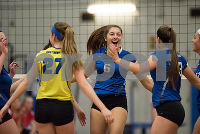 11/15/17  Wesley Bunnell | Staff  Southington girls volleyball vs Greenwich in a semi final match played at Bunnell High School in Stratford on Wednesday evening. Erica Bruno (6) and teammates react to a point.