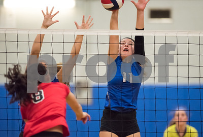 11/15/17  Wesley Bunnell | Staff  Southington girls volleyball vs Greenwich in a semi final match played at Bunnell High School in Stratford on Wednesday evening. Hannah Zelina (11).