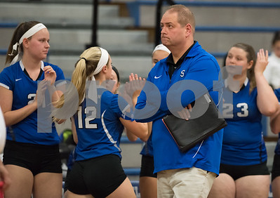 11/15/17  Wesley Bunnell | Staff  Southington girls volleyball vs Greenwich in a semi final match played at Bunnell High School in Stratford on Wednesday evening. Head coach Rich Heitz glances up at the scoreboard.