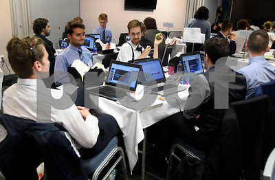 11/16/2017 Mike Orazzi | Staff Area college students during the 2017 College Tech Challenge Final featuring the best computer and engineering students from colleges and universities all over CT held at the DoubleTree by Hilton Hotel in Bristol Thursday.