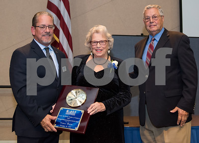 11/16/17  Wesley Bunnell | Staff  The Greater New Britain Chamber of Commerce covering New Britain and Berlin held their annual dinner Thursday evening at CCSU celebrating 104 years.  President Tim Stewart stands next to Frances Wolski who received the Distinguished Community Service Award.