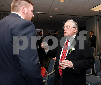11/17/2017 Mike Orazzi | Staff The 2017 Bristol Sports Hall of Fame Inductee Jack Hines (right) talks with Ryan Cassin during The 2017 Bristol Sports Hall of Fame dinner at the DoubleTree by Hilton Hotel in Bristol Friday evening.