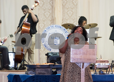 11/17/17  Wesley Bunnell | Staff  The New Britain NAACP Freedom Fund Dinner took place on Friday evening at St. George.  Anji Collins performs The Black National Anthem.