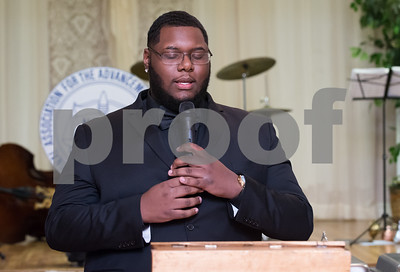 11/17/17  Wesley Bunnell | Staff  The New Britain NAACP Freedom Fund Dinner took place on Friday evening at St. George. Johnathan Davis performs the National Anthem.