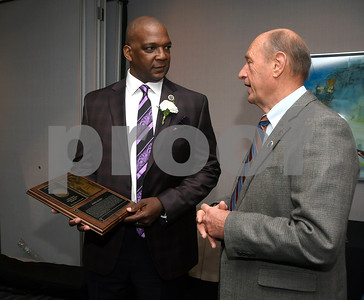 11/17/2017 Mike Orazzi | Staff The 2017 Bristol Sports Hall of Fame Inductee Daryl Floyd talks with Dave Mills during The 2017 Bristol Sports Hall of Fame dinner at the DoubleTree by Hilton Hotel in Bristol Friday evening.