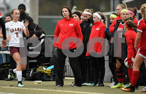 11/18/2017 Mike Orazzi | Staff Berlin girls soccer coach Katie Amenta during the Class M Final at Municipal Stadium in Waterbury Saturday. Granby won 3-0.