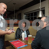 11/20/17  Wesley Bunnell | Staff<br /> <br /> The Bristol Police Department held a Tip a Cop event at 99 Restaurant on Monday evening to benefit the Special Olympics. Police Chief Brian Gould takes orders from Gale & Kevin Fuller who serves as a police commissioner.
