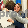 11/21/17  Wesley Bunnell | Staff<br /> <br /> A conference was held Tuesday morning at New Britain City Hall between the city and The United Way announcing a program where city employees can elect to have a portion of their paycheck automatically donated to The United Way. Mayor Erin Stewart hugs President and CEO of The United Way of Central and Northeastern CT Paula Gilberto.