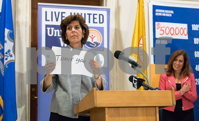 11/21/17  Wesley Bunnell | Staff  A conference was held Tuesday morning at New Britain City Hall between the city and The United Way announcing a program where city employees can elect to have a portion of their paycheck automatically donated to The United Way.  President and CEO of The United Way of Central and Northeastern CT Paula Gilberto who was unable to speak due to illness held up messages for the audience expressing her feelings.