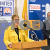 11/21/17  Wesley Bunnell   Staff<br /> <br /> A conference was held Tuesday morning at New Britain City Hall between the city and The United Way announcing a program where city employees can elect to have a portion of their paycheck automatically donated to The United Way. Superintendent of Schools Nancy Sarra speaks as President of the NB Chamber of Commerce Tim Stewart looks on.