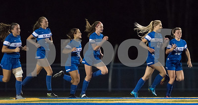 11/2/17  Wesley Bunnell | Staff  St. Paul Catholic girls soccer vs Holy Cross in the NVL Championship game on Thursday evening at Seymour High School. Hannah Rinhart (22) is congratulated by teammates after scoring in the 2nd half to give St. Paul a 2-0 lead.
