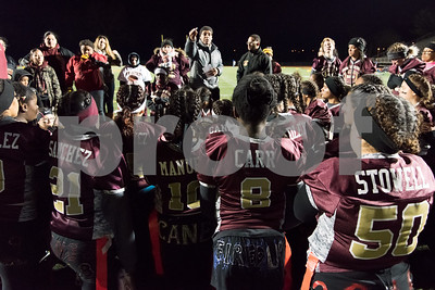 11/22/17  Wesley Bunnell   Staff  Southington defeated New Britain in the annual Powder Puff game at Veterans Stadium in New Britain on Wednesday night.  Coaches address the New Britain team after the game.