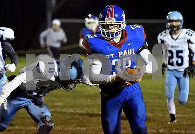 11/22/2017 Mike Orazzi   Staff St. Paul's Quentin Conner (39) during Wednesday night's football game in Bristol.