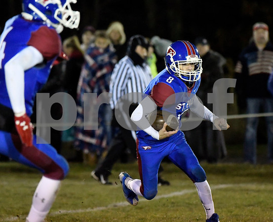 11/22/2017 Mike Orazzi | Staff St. Paul's Ryan Prendergast (8) during Wednesday night's football game in Bristol.