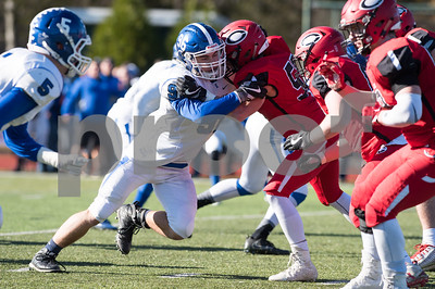 11/23/17  Wesley Bunnell | Staff  Southington football topped Cheshire on Thanksgiving morning in the Apple Valley Classic at Cheshire High School. DL Ryan Gavronski (96).