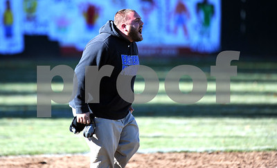 11/23/2017 Mike Orazzi | Staff Bristol Eastern High School Head Football Coach Anthony Julius during the annual Battle For The Bell at Muzzy Field Thursday.