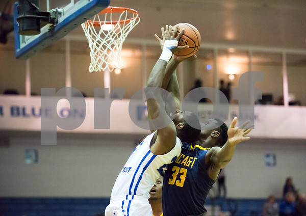 11/30/17 Wesley Bunnell | Staff CCSU Men's Basketball defeated North Carolina A&T on Thursday evening at Derrick Gymnasium in New Britain. Joe Hugley (21).