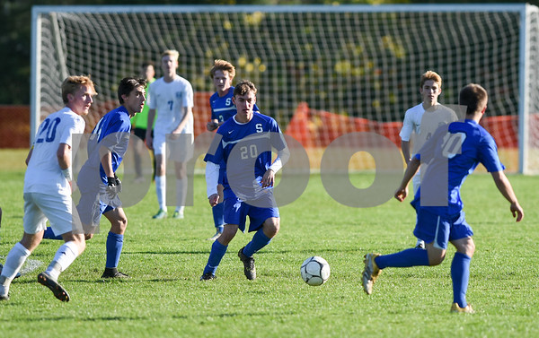 11/8/17 Wesley Bunnell   Staff Southington boys soccer was defeated in the CIAC tournament on Wednesday afternoon in a match against Glastonbury at Glastonbury High School. Marek Kryzanski (20) and Bryce Worth (10).