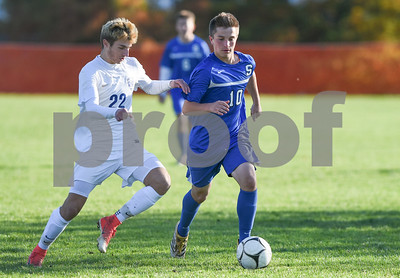 11/8/17  Wesley Bunnell | Staff  Southington boys soccer was defeated in the CIAC tournament on Wednesday afternoon in a match against Glastonbury at Glastonbury High School. Bryce Worth (10).