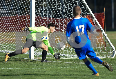 11/8/17  Wesley Bunnell | Staff  Southington boys soccer was defeated in the CIAC tournament on Wednesday afternoon in a match against Glastonbury at Glastonbury High School. Goalkeeper Evan Daddona (1) and Hayden Burbank (17).